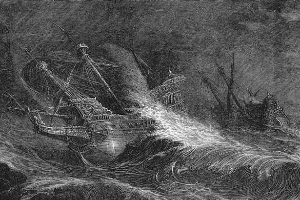 Galleons in a hurricane